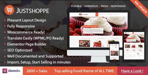 Elementor Cake Bakery WordPress Theme - Justshoppe