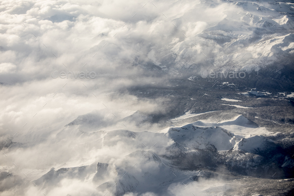 High aerial view of the Sierra Nevada Mountains of California du - Stock Photo - Images