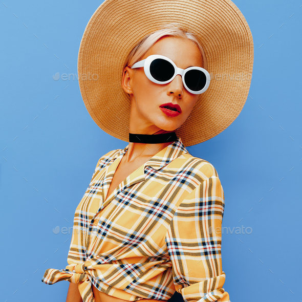 Lady Beach Country style. Fashion accessories hat and sunglasses - Stock Photo - Images