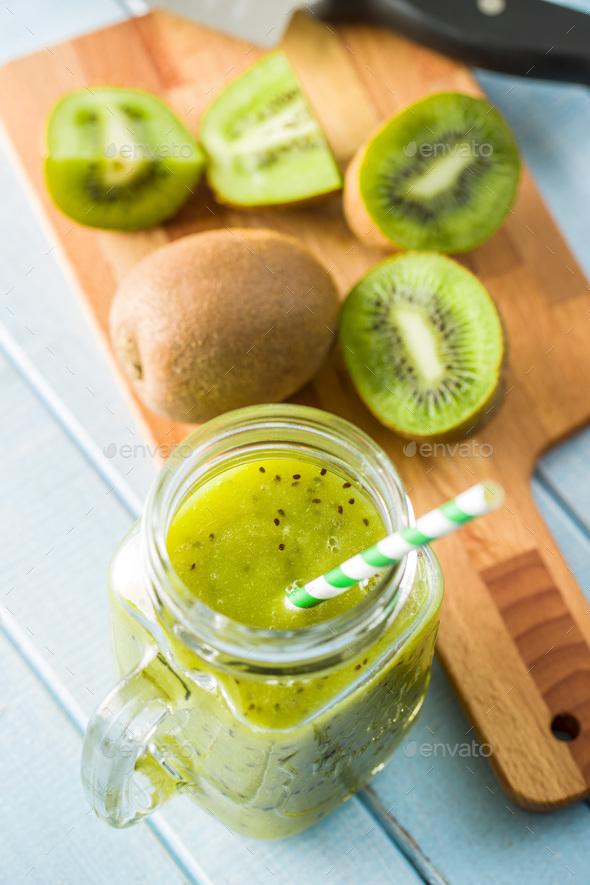 Glass of kiwi smoothie juice. - Stock Photo - Images