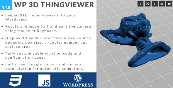 1 0] WP 3D Thingviewer Nulled Free Download