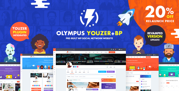 Download Olympus – Responsive Community & Social Network WordPress Theme nulled 01 mainpreview