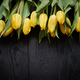 Beautiful yellow tulips on black rustic wooden background. Top view - PhotoDune Item for Sale