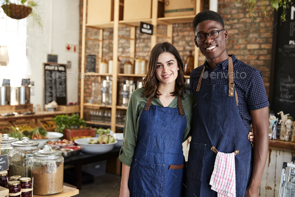 Portrait Of Male And Female Owners Of Sustainable Plastic Free Grocery Store - Stock Photo - Images