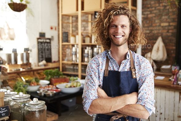 Portrait Of Male Owner Of Sustainable Plastic Free Grocery Store - Stock Photo - Images