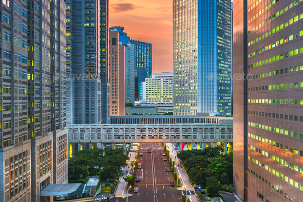 Shinjuku, Tokyo, Japan cityscape past the Metropolitan Governmen - Stock Photo - Images