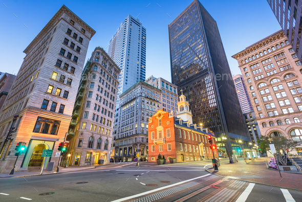 Boston, Massachusetts, USA Old State House and cityscape. - Stock Photo - Images