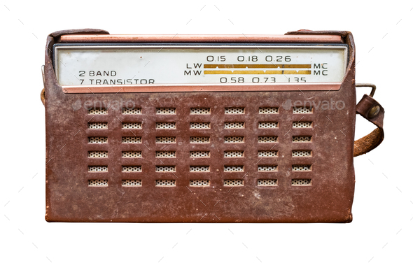 Vintage Transistor Radio In Leather Case - Stock Photo - Images