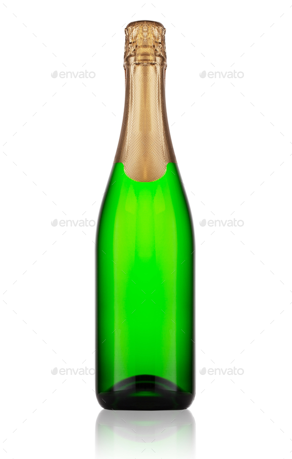 Ggreen bottle of champagne - Stock Photo - Images