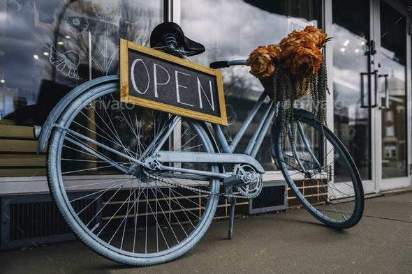 Open signboard.Bicycle.Creative sign for the store. - Stock Photo - Images
