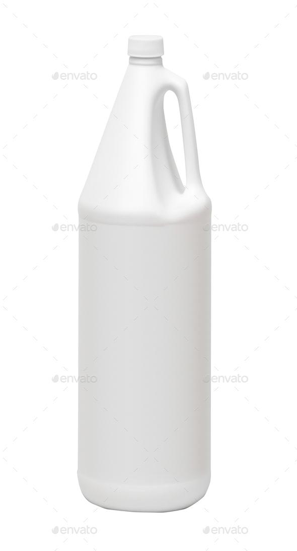 white plastic bottle isolated on a white background - Stock Photo - Images