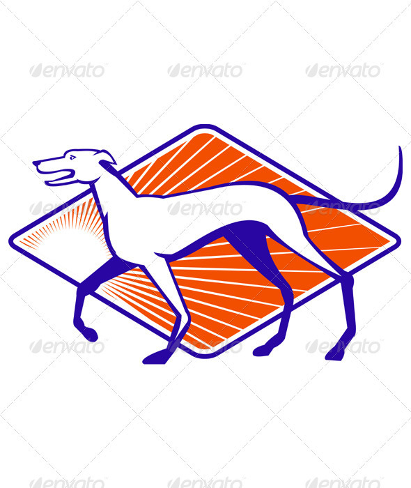 Greyhound Dog Walking Side Retro - Animals Characters