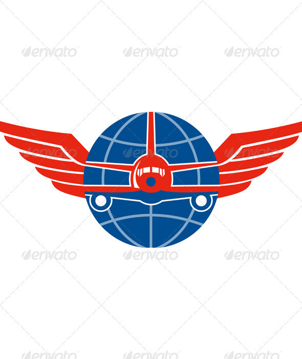 Download Jumbo Jet Plane Front Wings Globe AI EPS Vector
