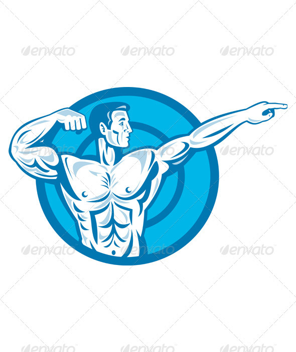 Bodybuilder Flexing Muscles Pointing Side Retro - People Characters
