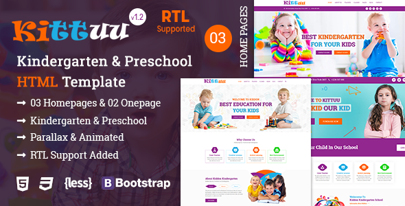Kittuu - Kindergarten & Preschool Education HTML Template