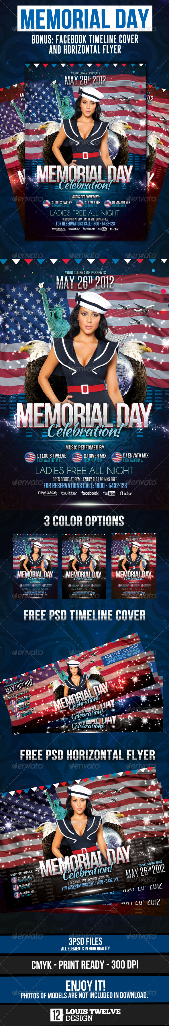 Memorial Day Flyer Vertical, Horizontal + Timeline - Clubs & Parties Events