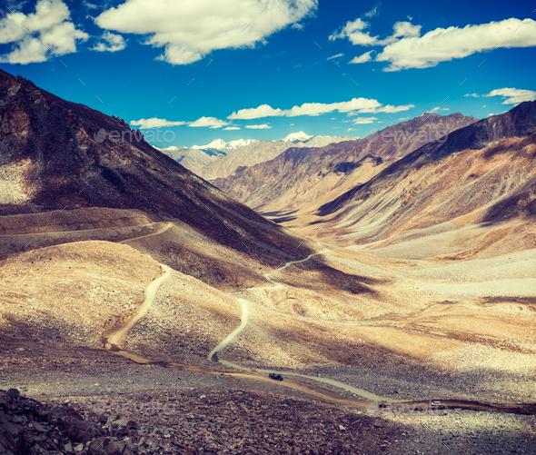 Himalayan landscape with road, Ladakh, India - Stock Photo - Images