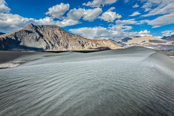 Sand dunes. Nubra valley, Ladakh, India - Stock Photo - Images