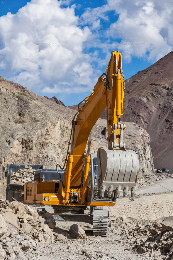 Road construction in Himalayas - Stock Photo - Images