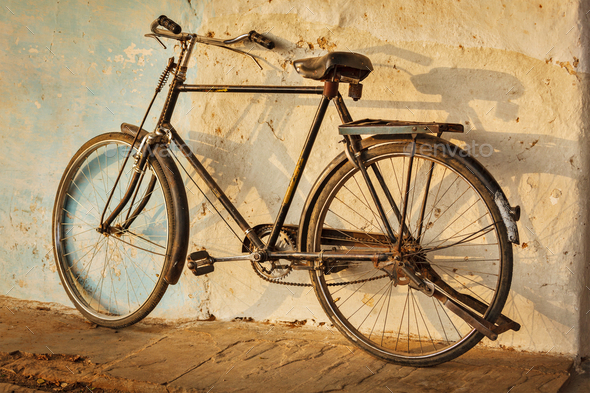 Old Indian bicycle in the street - Stock Photo - Images