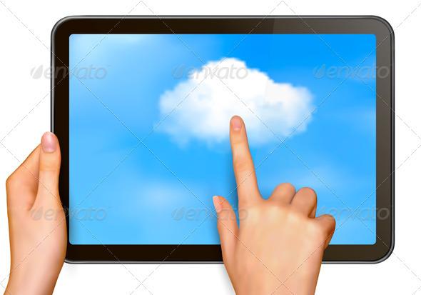 Cloud Computing Concept Finger Touching Cloud - Concepts Business