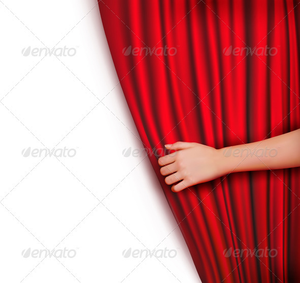 Background with Red Velvet Curtain   - Backgrounds Decorative