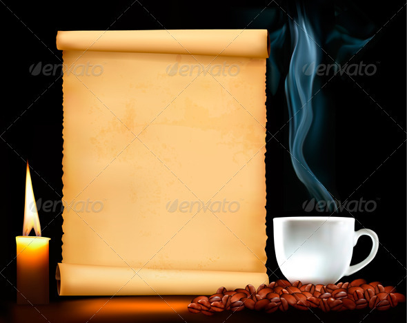 Restaurant Menu on the Old Paper and Coffee. - Backgrounds Decorative