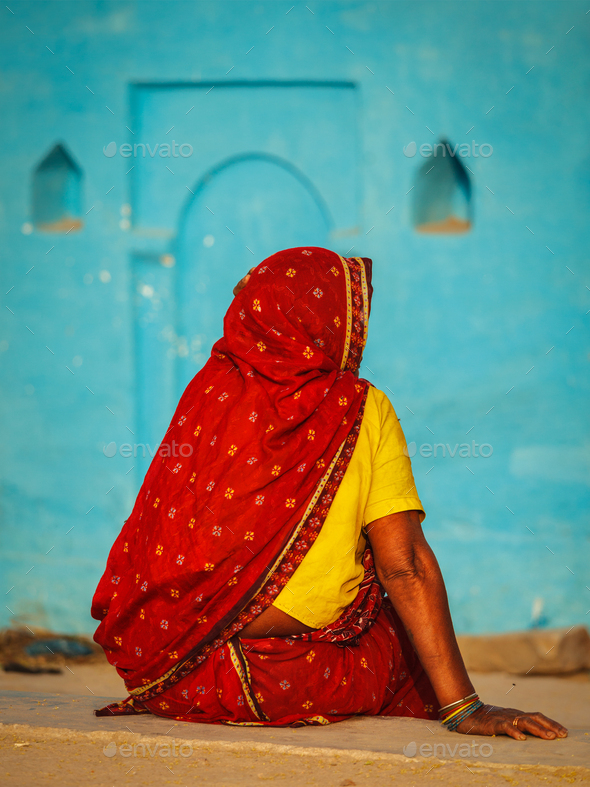 Unidentified Indian rural woman in traditional sari - Stock Photo - Images