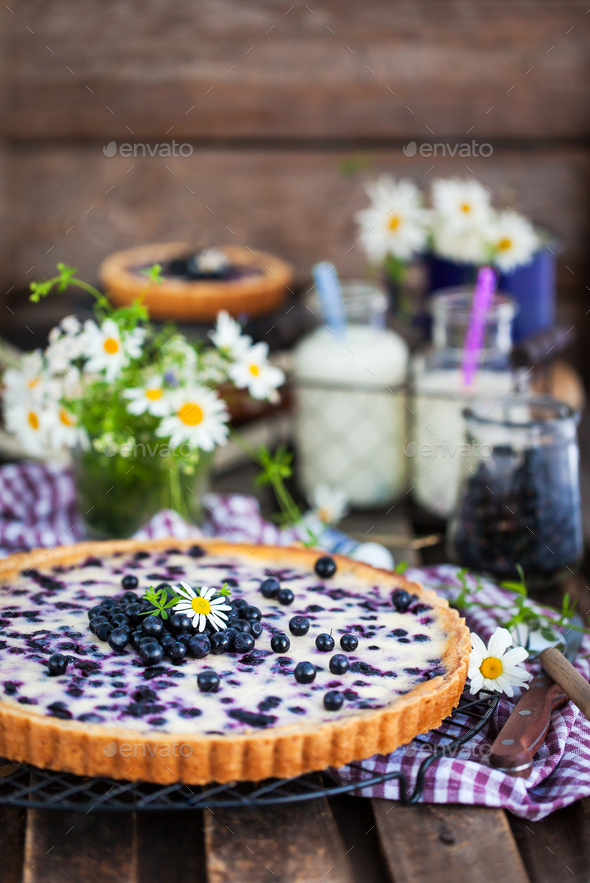 Fresh homemade creamy blueberry tart (open pie) on rustic backgr - Stock Photo - Images