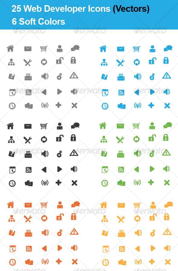 25 Web Developers Icons - (4 Colors VECTOR) - Web Icons