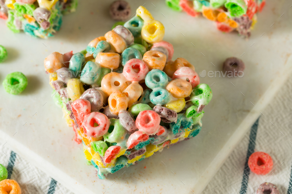 Homemade Fruit Cereal Marshmallow Treat - Stock Photo - Images
