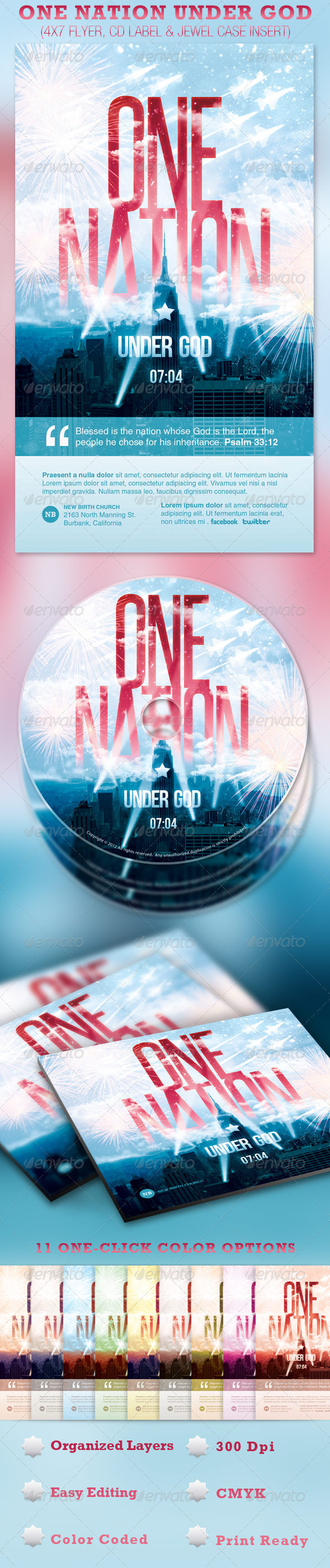 One Nation Under God Flyer and CD Template - Church Flyers