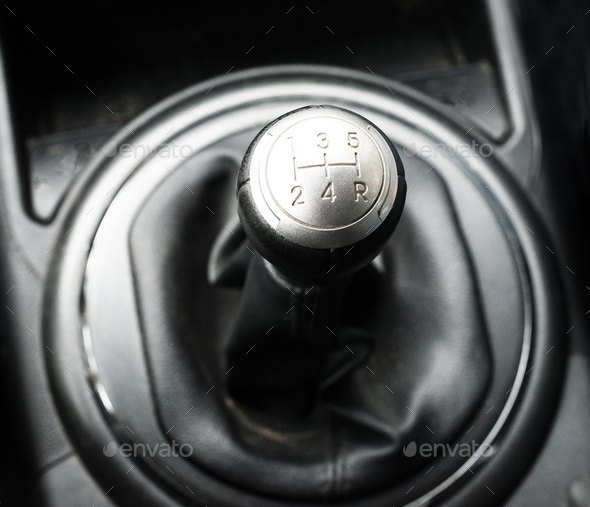 Close up view of a gear lever shift - Stock Photo - Images