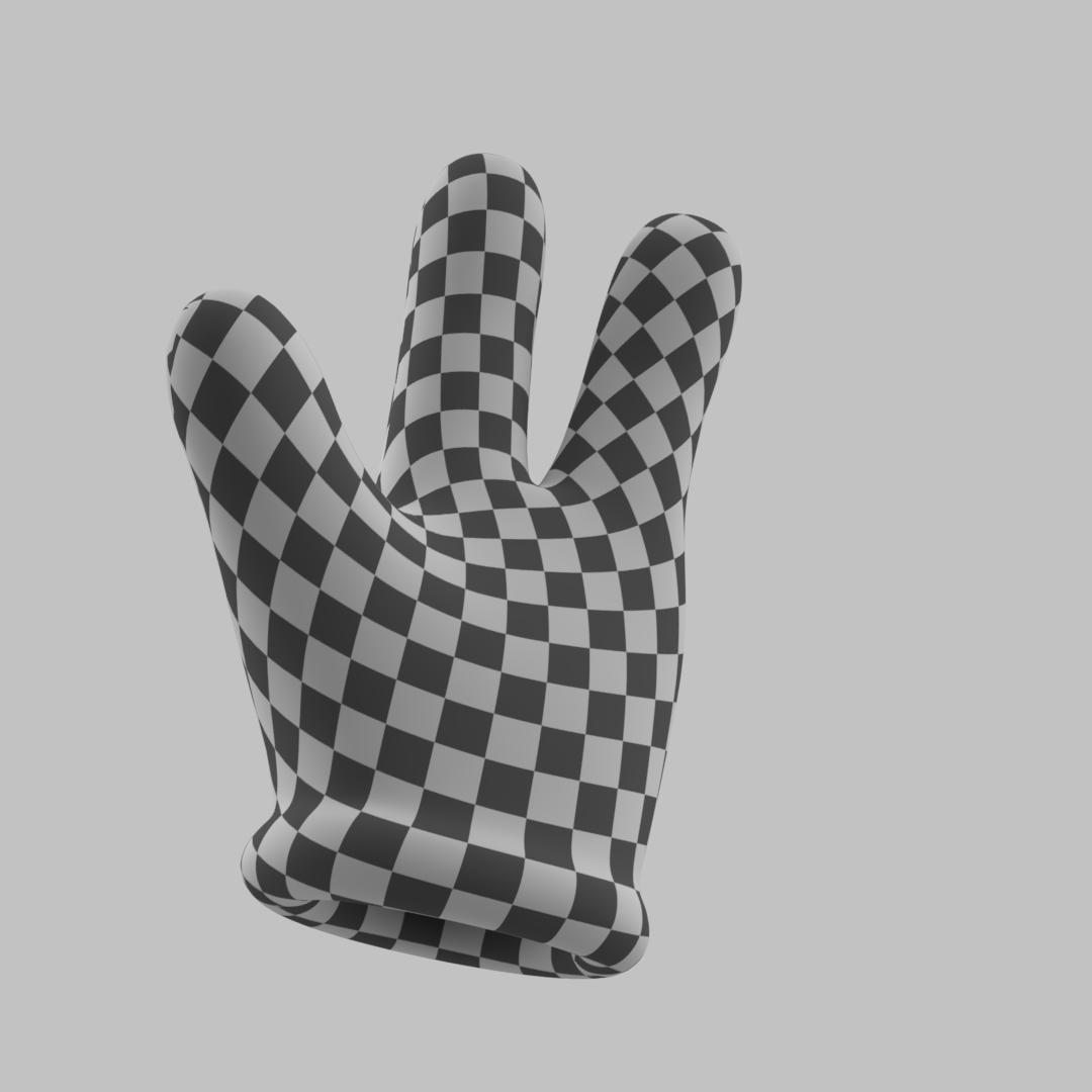Cartoon Glove Hands Low Poly - 3 fingers