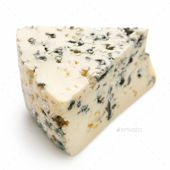 Blue cheese on white - Stock Photo - Images