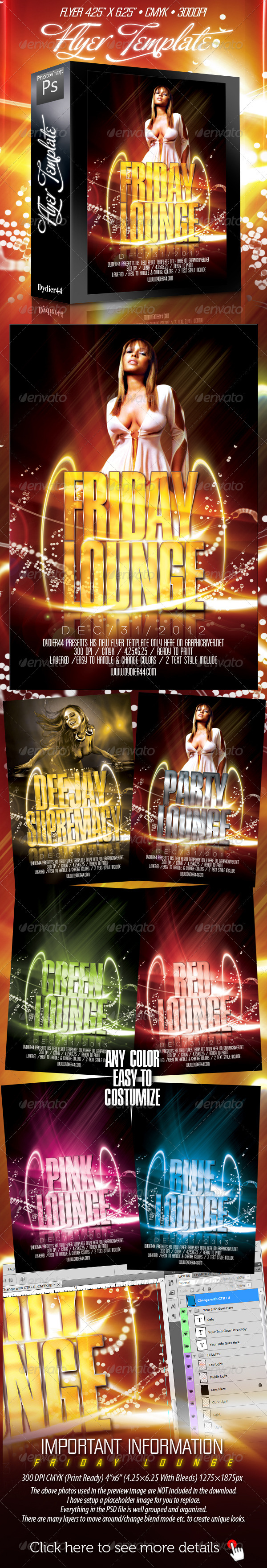 Friday Lounge (Flyer Template 4x6)  - Clubs & Parties Events