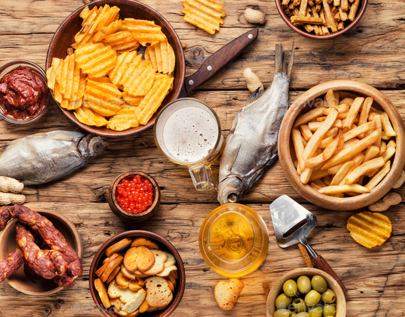 Assorted beer snacks - Stock Photo - Images