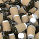 Heap of many empty paper coffee cups. Recycling of plastic waste - PhotoDune Item for Sale