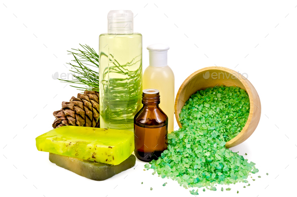 Oil with toiletries and cedar cones - Stock Photo - Images