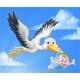Stork Cartoon Pregnancy Myth Bird With Baby Boy - GraphicRiver Item for Sale