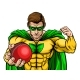 Superhero Holding Cricket Ball Sports Mascot - GraphicRiver Item for Sale