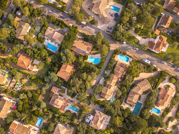 Luxury Villas with swimming pools crop - Stock Photo - Images
