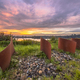 Metal waved objects in landscape - PhotoDune Item for Sale