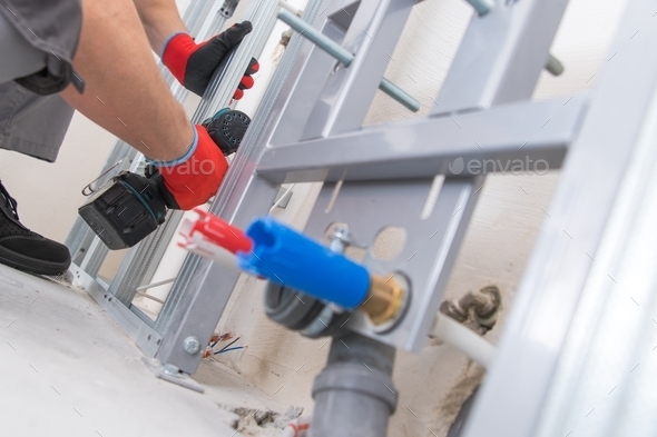 Contractor Building Wall Framing - Stock Photo - Images