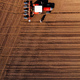 Aerial view of farmer and tractor with crop seeder - PhotoDune Item for Sale