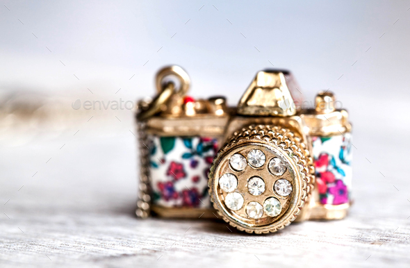 jewelery, camera with zirconium in beautiful flowers on a gray background - Stock Photo - Images