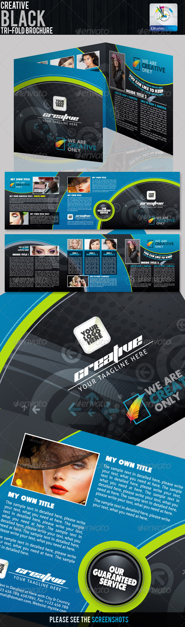 Creative Black Tri-fold Brochure - Corporate Brochures
