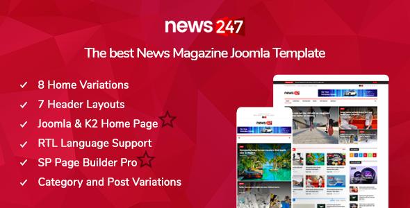News247 - News/Magazine Joomla Template