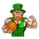Leprechaun Holding Basketball Ball Sports Mascot - GraphicRiver Item for Sale