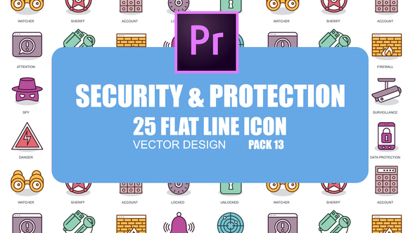Security And Protection – Flat Animation Icons (MOGRT)